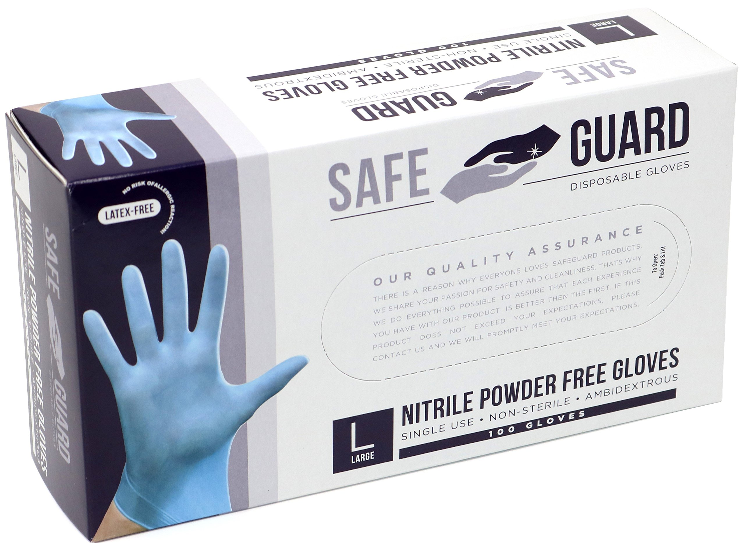 SAFEGUARD Nitrile Powder Free Gloves, Blue, Large, 1000 Count