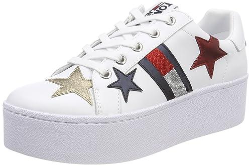 Hilfiger Denim Tommy Jeans Flatform Sneaker, Zapatillas para Mujer, Blanco (White 100), 41 EU Tommy Jeans