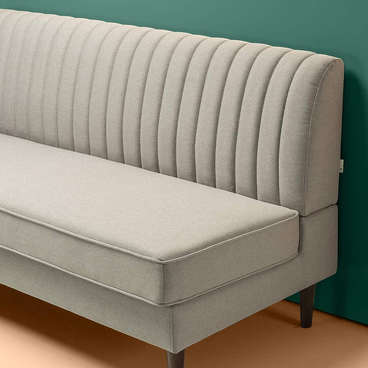 Zinus Jocelyn Contemporary 65 Inch Armless Sofa, Beige