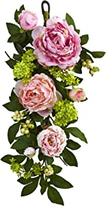 Nearly Natural 24in. Mixed Peony & Hydrangea Teardrop Garlands Pink,21'' x 6.5'' x 7.25''