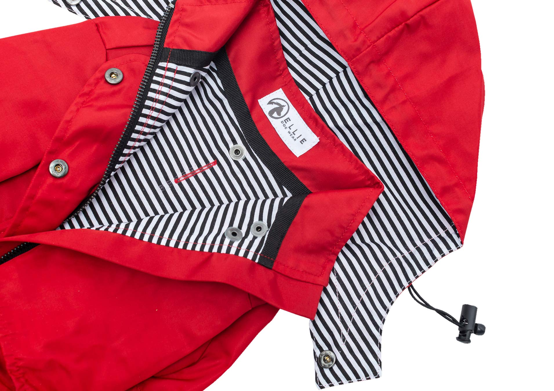 Ellie Dog Wear Red Zip Up Dog Raincoat with Reflective Buttons, Pockets, Rain/Water Resistant, Adjustable Drawstring, Removable Hoodie - Size XS to XXL Available - Stylish Premium Dog Raincoats (M) by Ellie Dog Wear (Image #3)