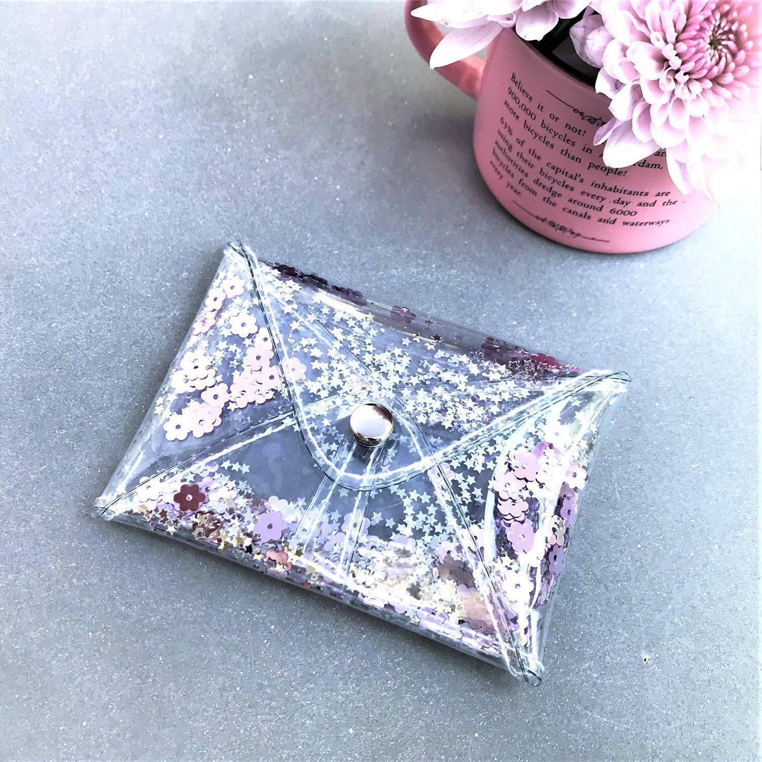 Clear and Sequins Handmade Small Womens Minimalist-Style Trendy Coin Pouch Case Purple Rose Glitter Coin Purse
