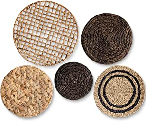 Large Boho Woven Wall Basket Decor - Set of Five - Handmade Wall Art made from Natural Water Hyacinth Seagrass - Ready to Hang