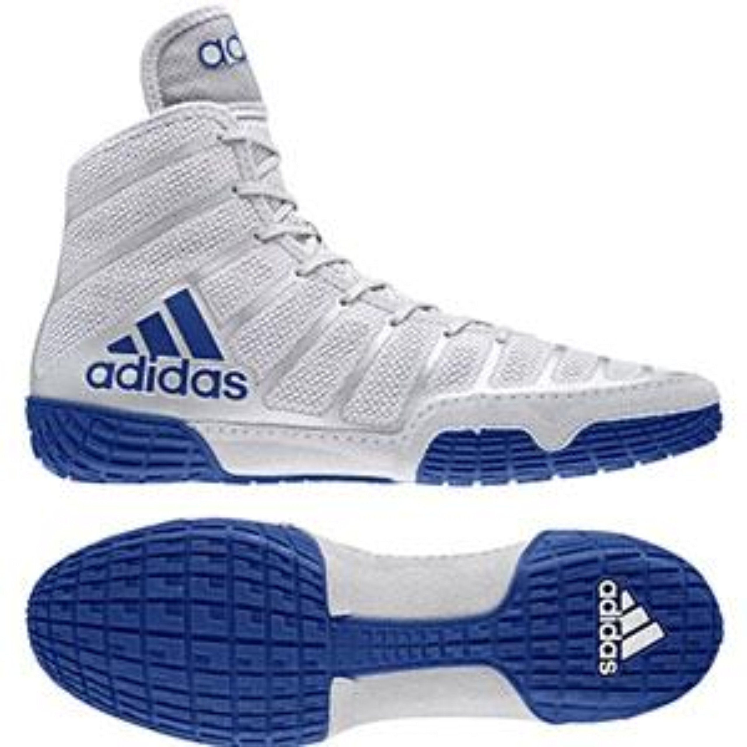 adidas adiZero Varner Mens Wrestling Shoes, Grey/Royal/White Size 7.5
