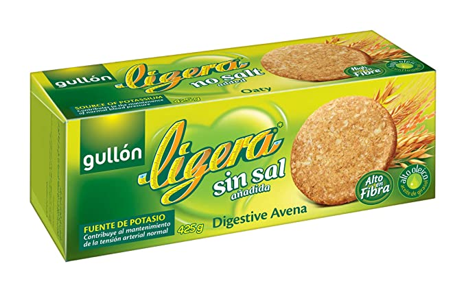 Gullón Ligera Digestiva Avena Galleta Desayuno y Merienda sin Sal - 425 gr