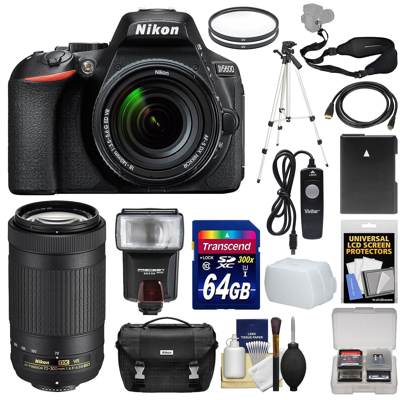 Nikon D5600 Wi-Fi Digital SLR Camera with 18-140mm VR DX AF-S & 70-300mm AF-P VR Lens + 64GB Card + Case + Flash + Battery + Tripod + Kit