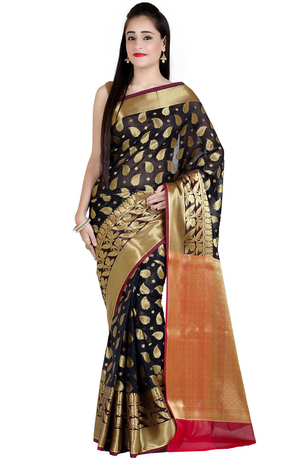 Chandrakala Women's Black Cotton Silk Banarasi Saree