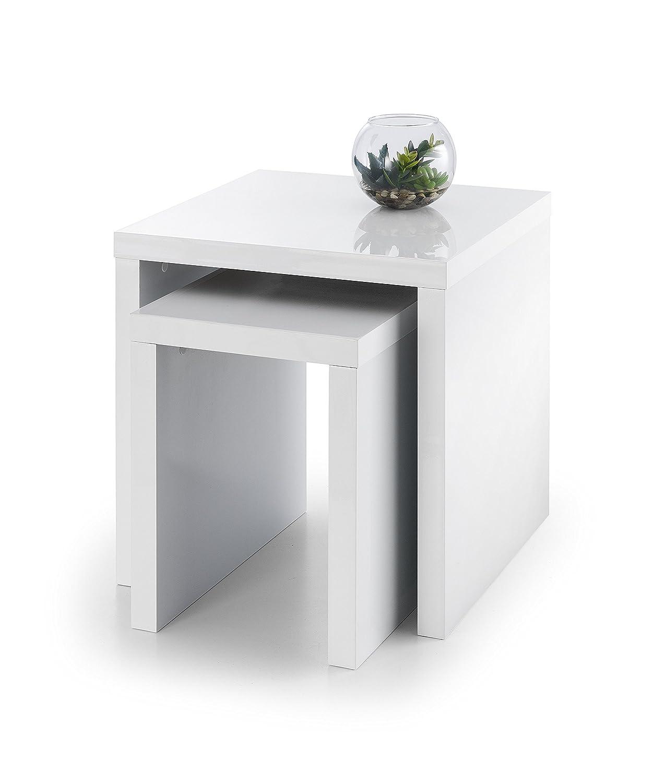 minifair white high gloss nest of  tables  set of  nesting  - julian bowen metro nest of tables wood white high gloss
