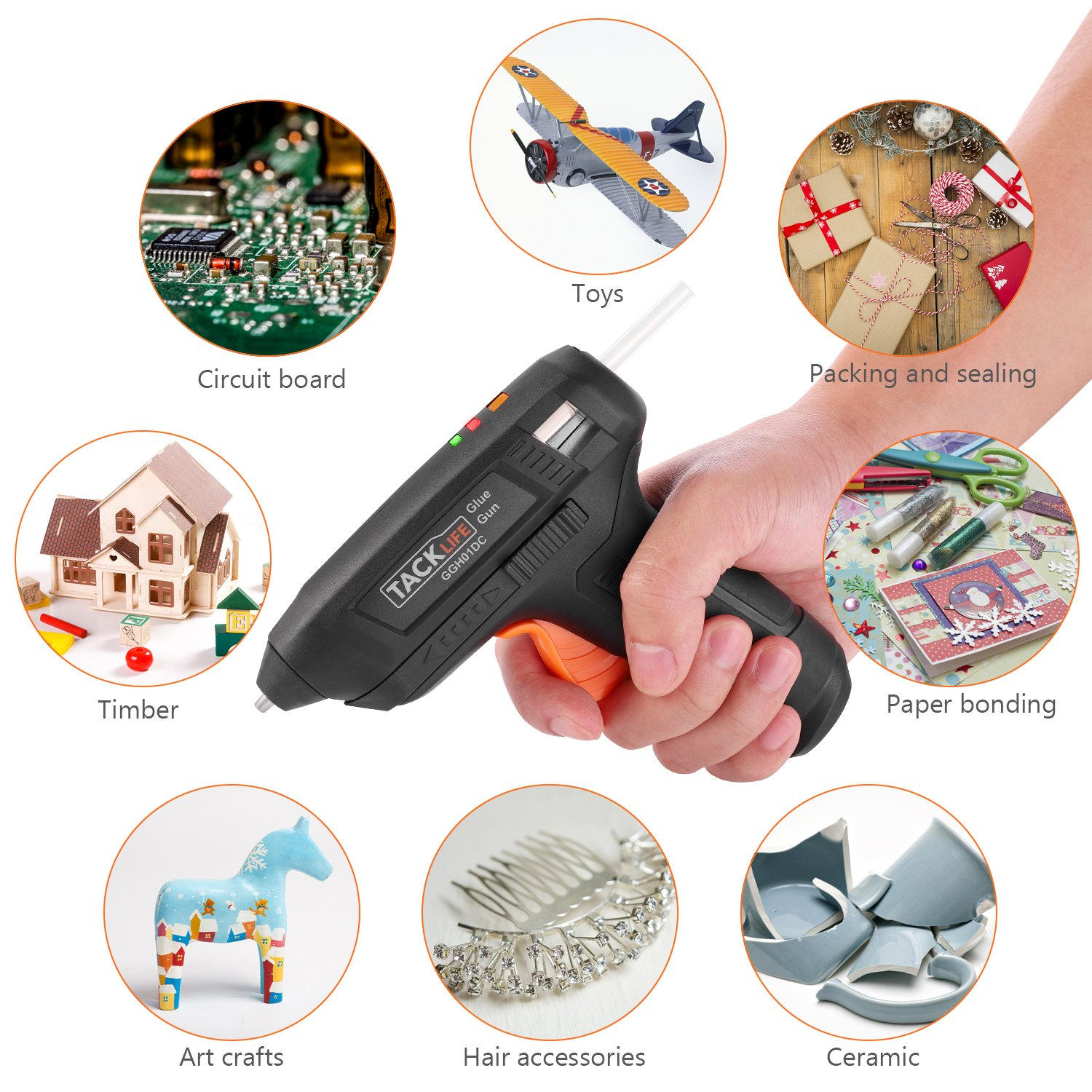 Hot Glue Gun Cordless with 50pcs Glue Sticks, Tacklife 3.6V Rechargeable Melting Glue Gun with USB Charging Cable, Seperate On/Off Switch for DIY and Repair Kit - GGH01DC by TACKLIFE (Image #6)