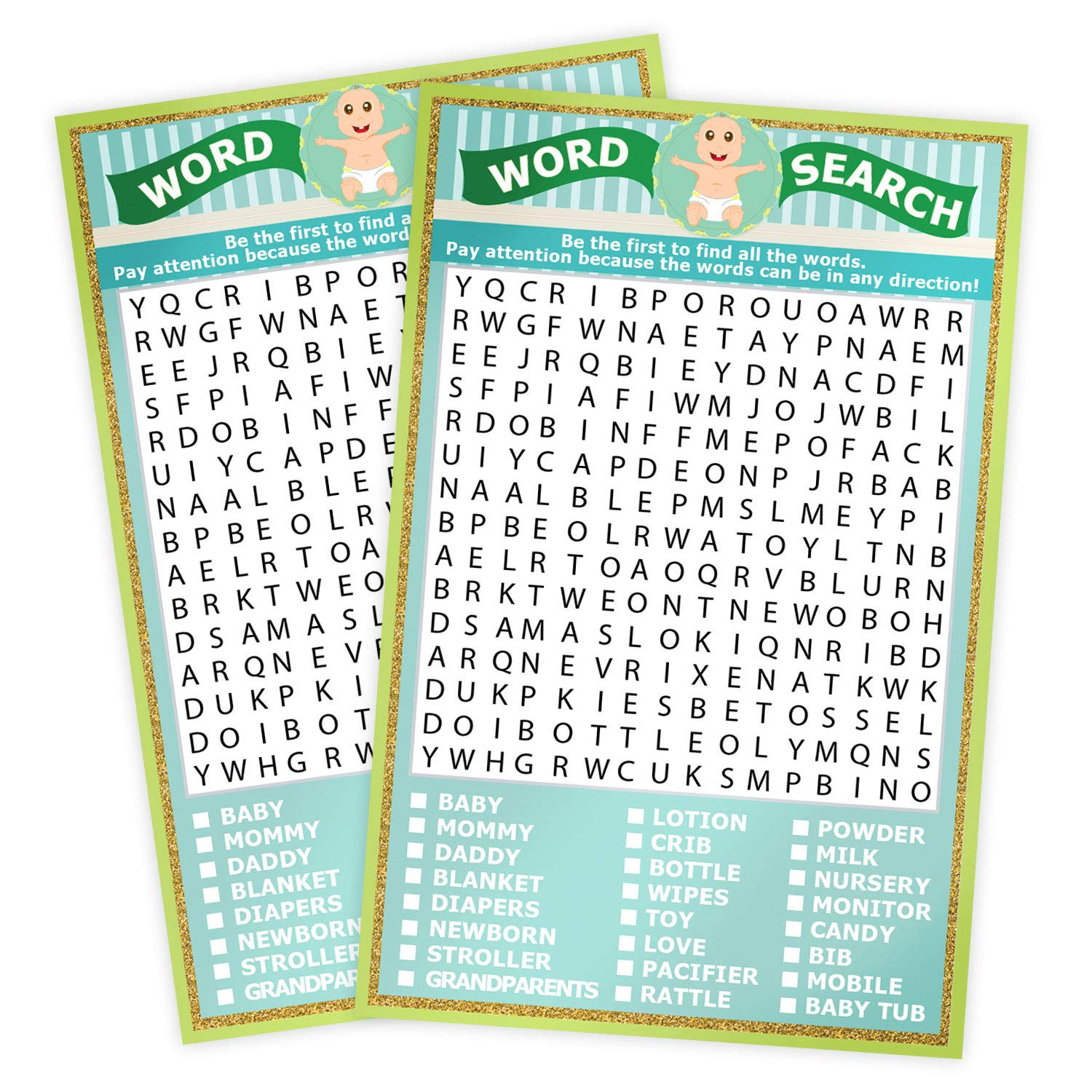 Baby Shower Word Search Game Unisex Pack for 50 guest supplies Sheet Size 5.31 X 8.26 inches