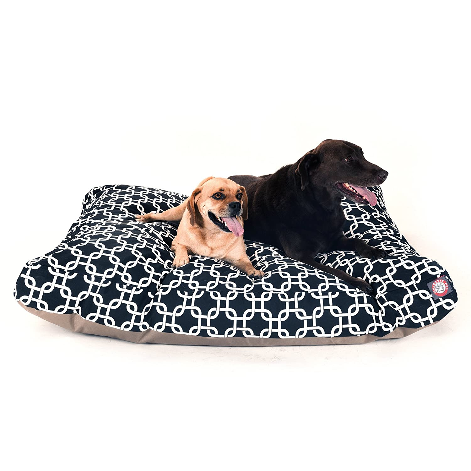 Black Links Extra Large Rectangle Indoor Outdoor Pet Dog Bed with Removable Washable Cover by Majestic Pet Products