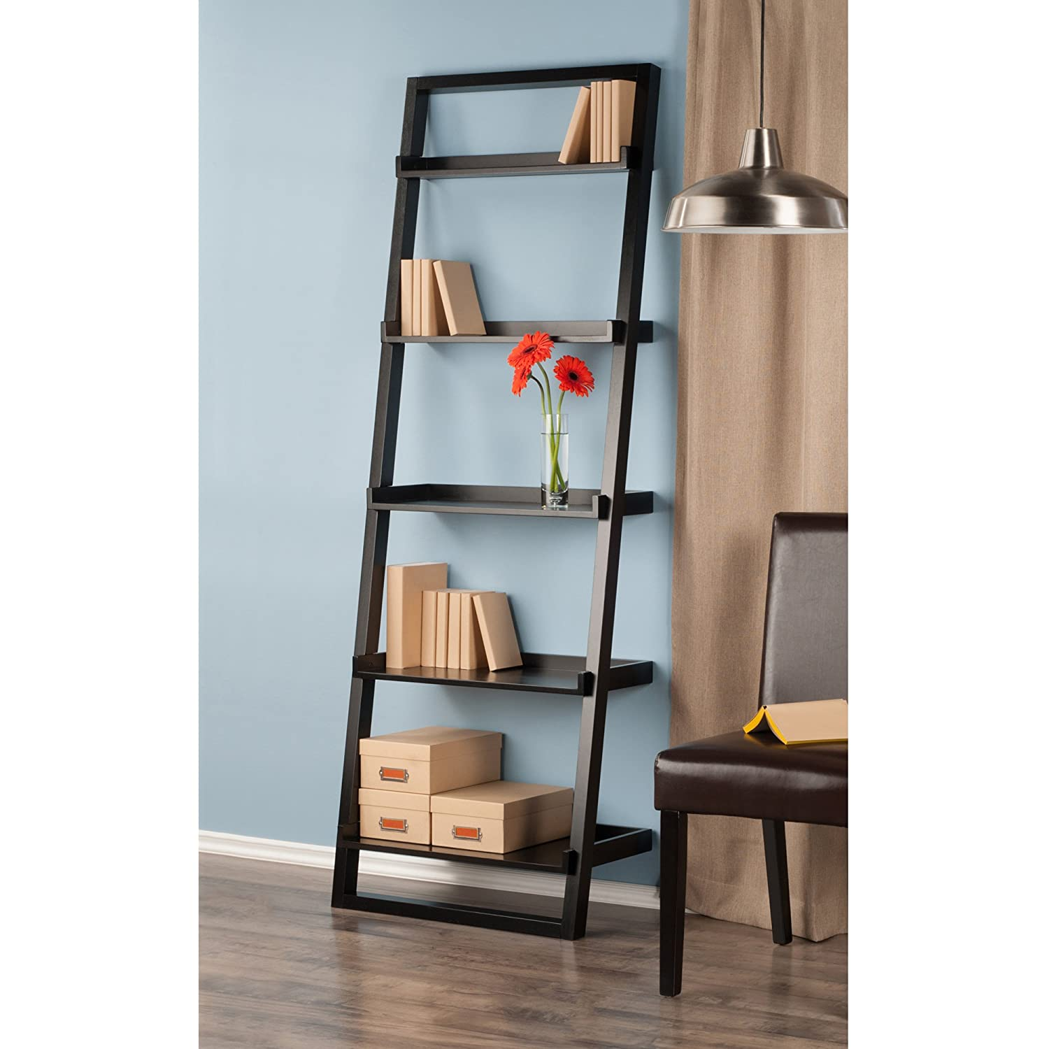 Amazon.com: Winsome Wood Bailey Leaning 5-Tier Shelving Unit, Black ...