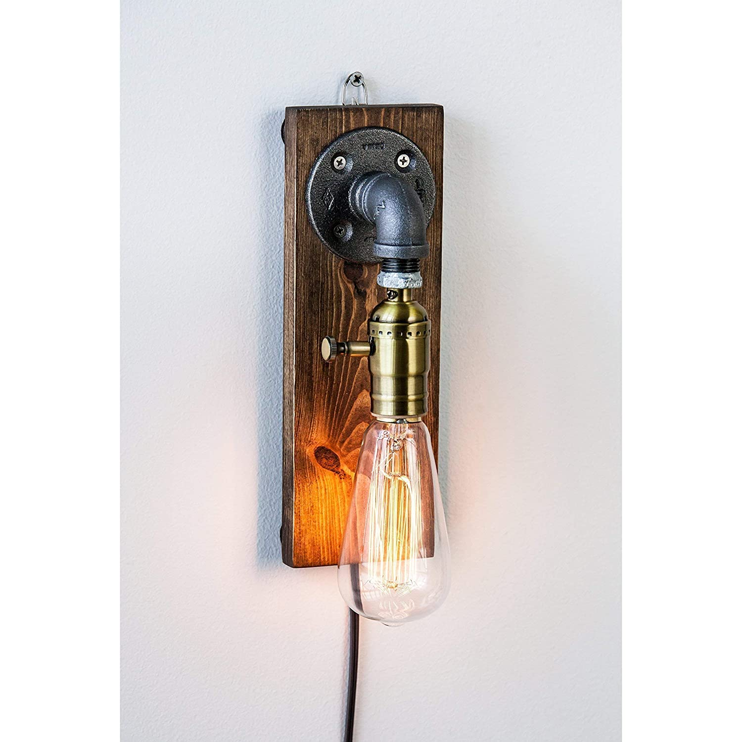 Industrial Steampunk wall sconce pipe lamp with classic Edison bulb and weathered wood base
