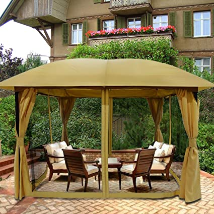 Awesome Quictent 12X12 Ft Metal Gazebo Canopy Pergola With Mesh Screen Netting Curtains Heavy Duty 100 Waterproof For Deck Patio And Backyard Tan Home Interior And Landscaping Synyenasavecom