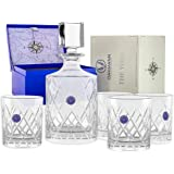Premium Whiskey Decanter and Glass Set Hand Cut Crystal Large 32oz Lead-free Decanters 12oz Old Fashioned Glasses Gift Box fo