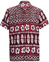 *La Leela* Shirt Camicia Hawaiana Uomo XS - 5XL Manica Corta Hawaii Tasca-Frontale Stampa Hawaiano Casuale Regular Fit Grigio332