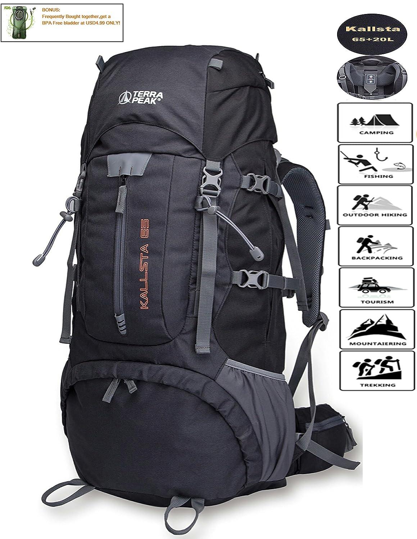 (ローラピーク) TERRA PEAK 調節可能なハイキングバックパック 55L/65L/85L+20L 男女兼用 レインカバー付き ブラック ネイビー グリーン ダークグレー  Black 65L B075FT77L8