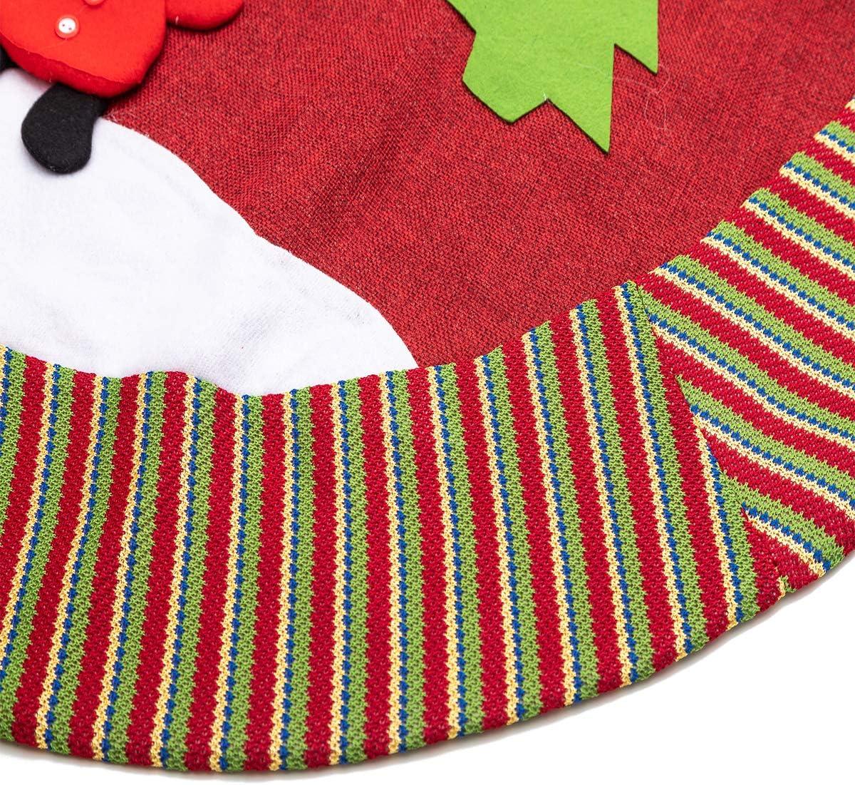 Style B 40 inch Christmas Double Layers Linen Tree Skirt Ornaments Snowman Santa Reindeer Decoration