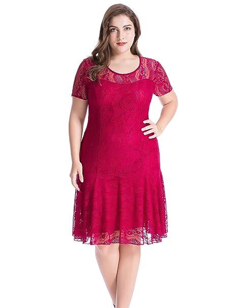 Chicwe Mujeres Tallas Grandes Vestido Swing con Encaje Floral - Casual Fiesta Cóctel Vestido Rojo Vino