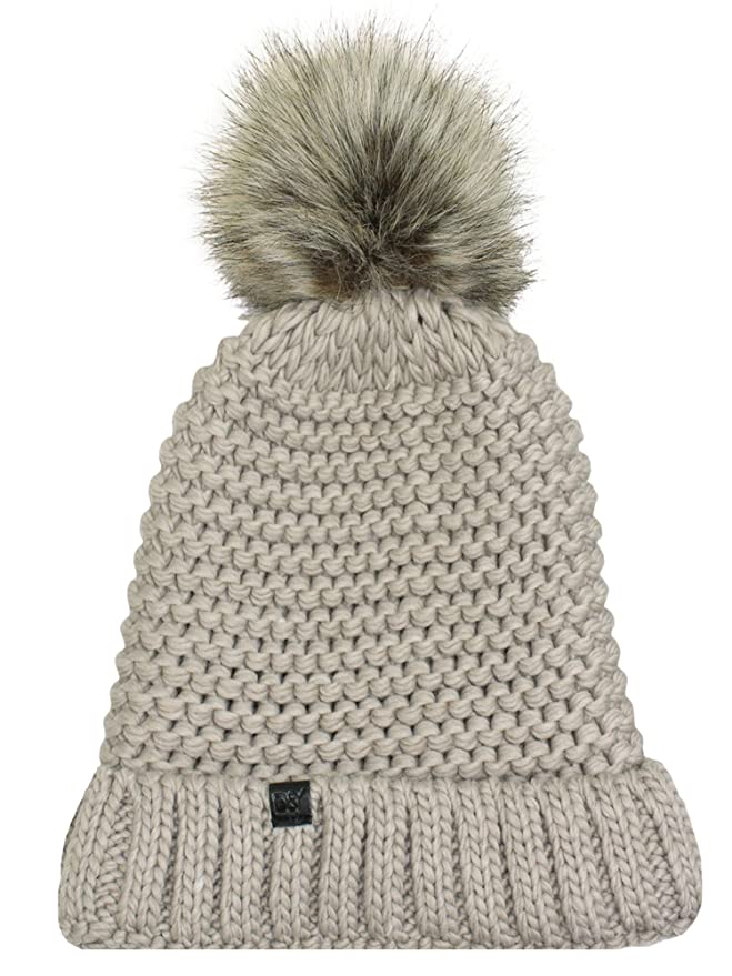 92890af6e16 Luxury Divas Taupe Winter Knit Beanie Hat with Faux Fur Pom Pom at Amazon  Women s Clothing store