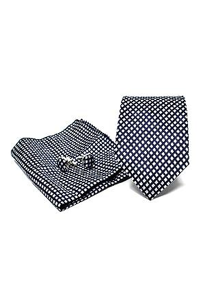 Fazzoletto da Taschino e Gemelli Blu Scuro Elegante e Moderno - Classico Confezione Regalo, ideale per un matrimonio, con un abito, in ufficio. Oxford Collection Cravatta da uomo 100/% seta