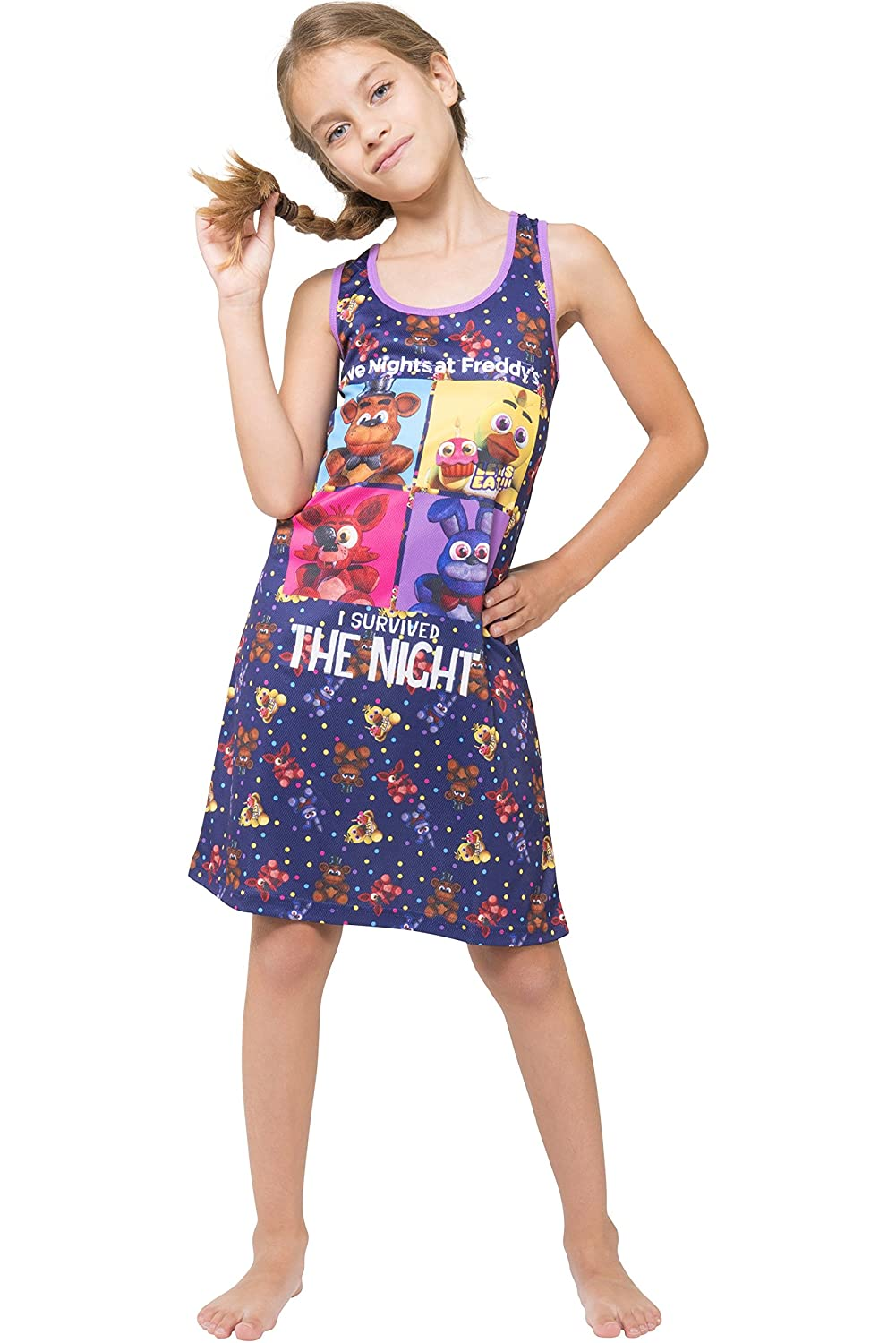 Intimo Girls Five Nights at Freddy's Racerback Nightgown Black 6/6X FNFG0105RBG