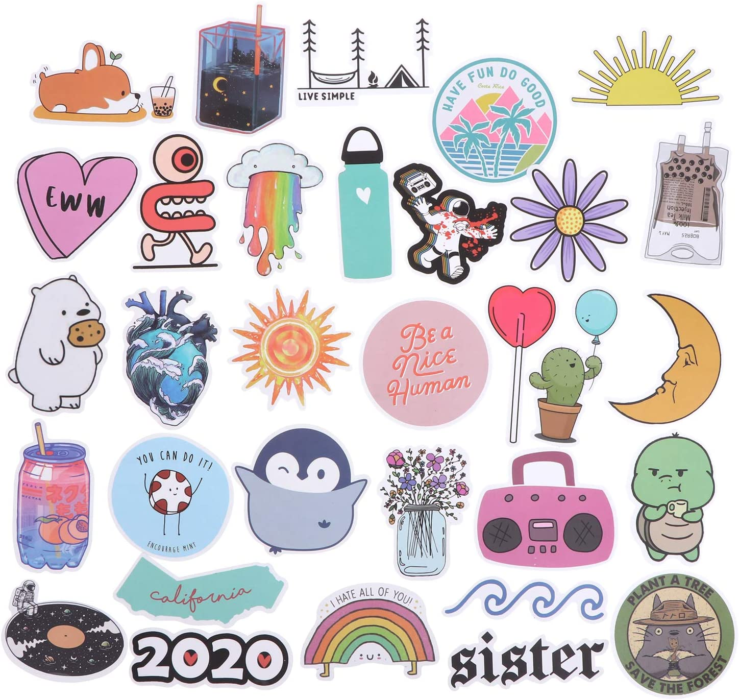 75 Pack Cute Stickers Laptop Stickers Waterproof Stickers for Water Bottles, Skateboards, Motorcycle Bicycle Luggage Laptop
