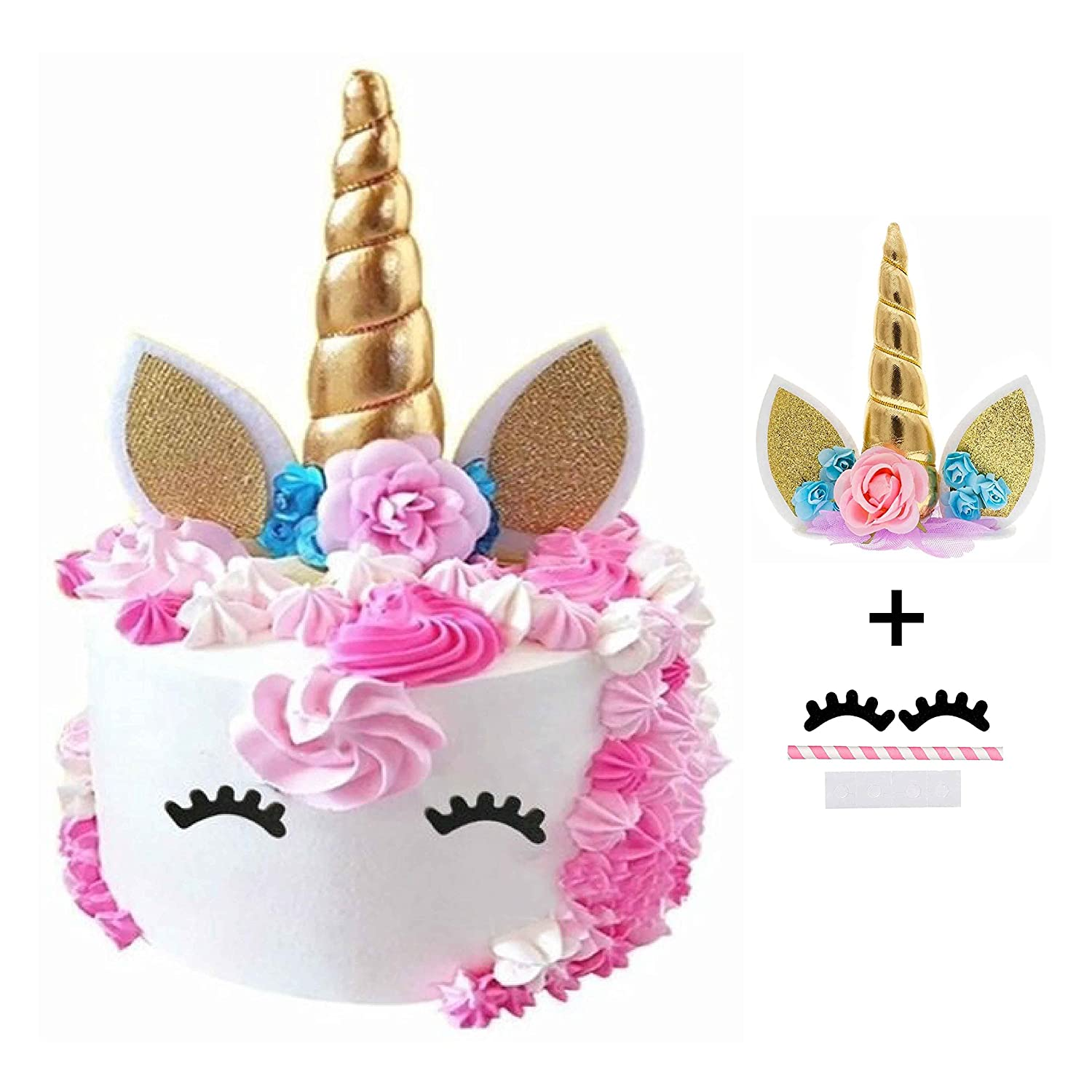 Unicorn Cake Topper with Gold Unicorn Horn, Glittery Ears, Flowers & Eyelashes | Perfect Unicorn Cake Decoration for Birthday Party, Baby Shower, Wedding Etc. | Unicorn Party Supplies by 7 Colors Kids