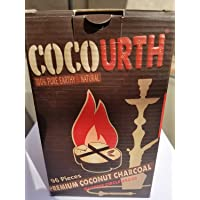 CocoUrth Natural Hookah Coconut Charcoal 96 Pieces QUARTER CIRCLE Round Coco Urth 1 Kilo Box Shisha Coals Wth Starbuzz Tongs with Foil Poker and Shisha Shaped Air Freshener Fits Lotus Bowl