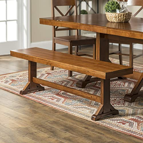 Walker Edison 3 Person Modern Farmhouse Wood Armless Dining Bench Kitchen