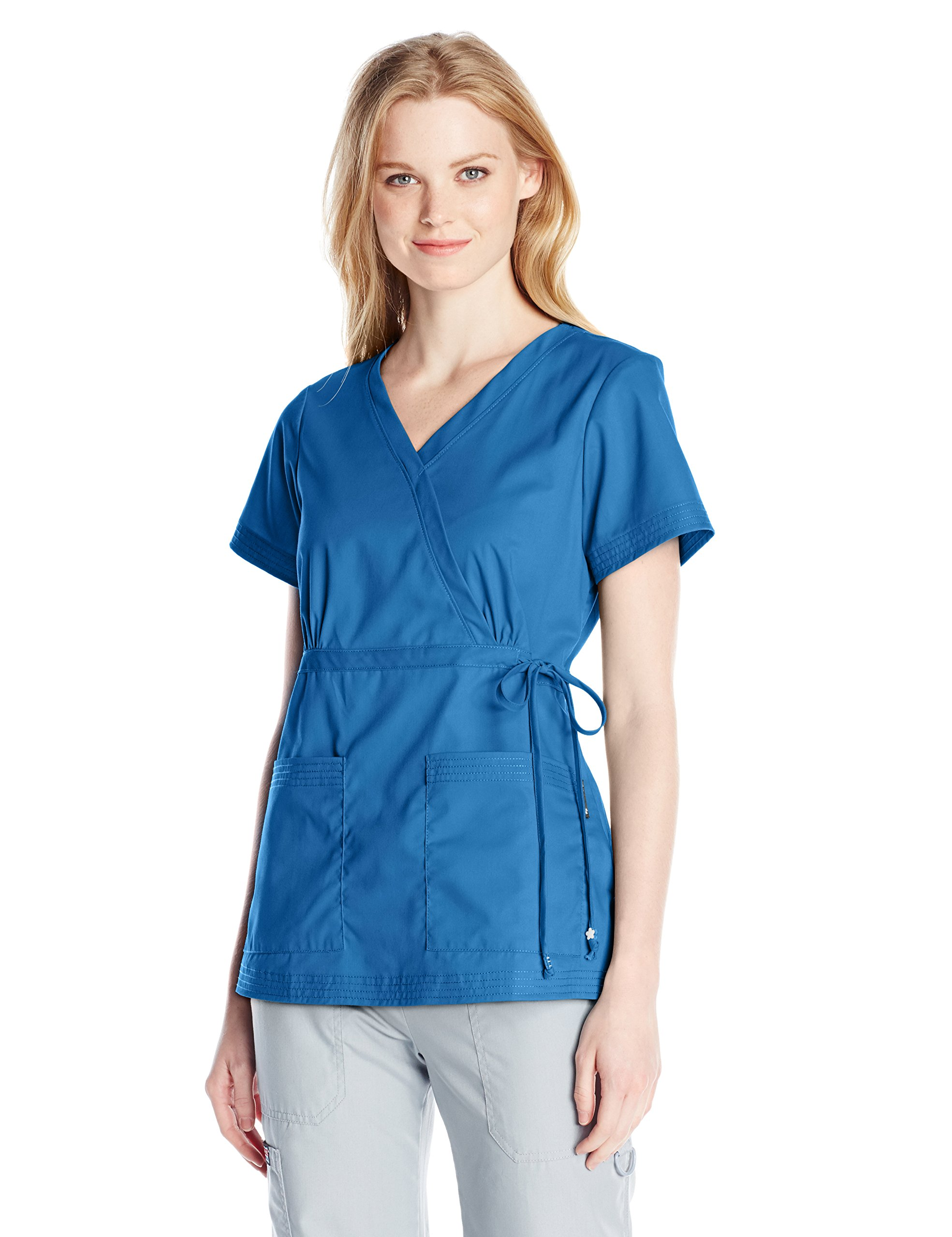 KOI Women's Katelyn Easy-Fit Mock-Wrap Scrub Top with Adjustable Side Tie, Royal, Medium