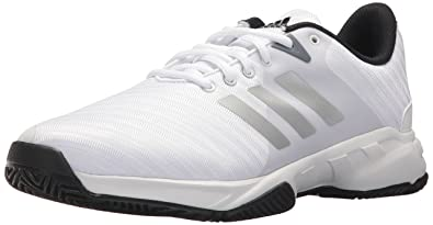 adidas Performance Men's Barricade Court 3 Wide Tennis Shoe, White/Matte  Silver/Scarlet