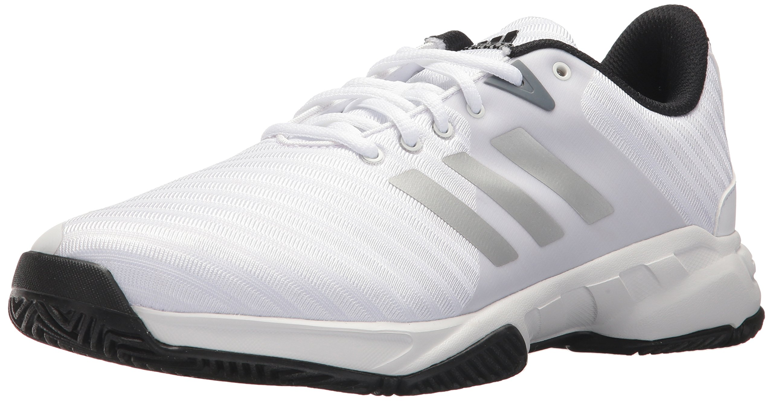 adidas Performance Men's Barricade Court 3 Wide Tennis Shoe, White/Matte Silver/Scarlet, 10.5 M US by adidas