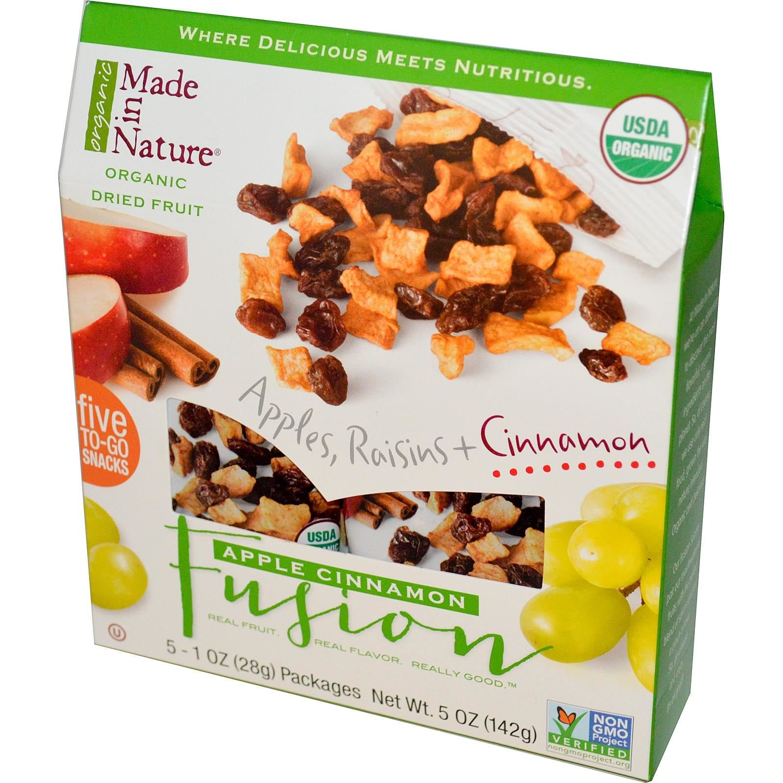 Made in Nature Organic Fruit Fusion Apple Cinnamon Supersnacks 5 Packages 1 oz 28 g Each