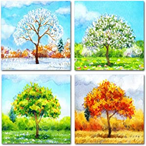 The Melody Art Colorful Tree Wall Art Four Seasons Wall Art for Kid's Bedroom Green Wall Decor for Nursery Childrens Room Decor Watercolor Landscape Painting for Living Room Modern Decor 12