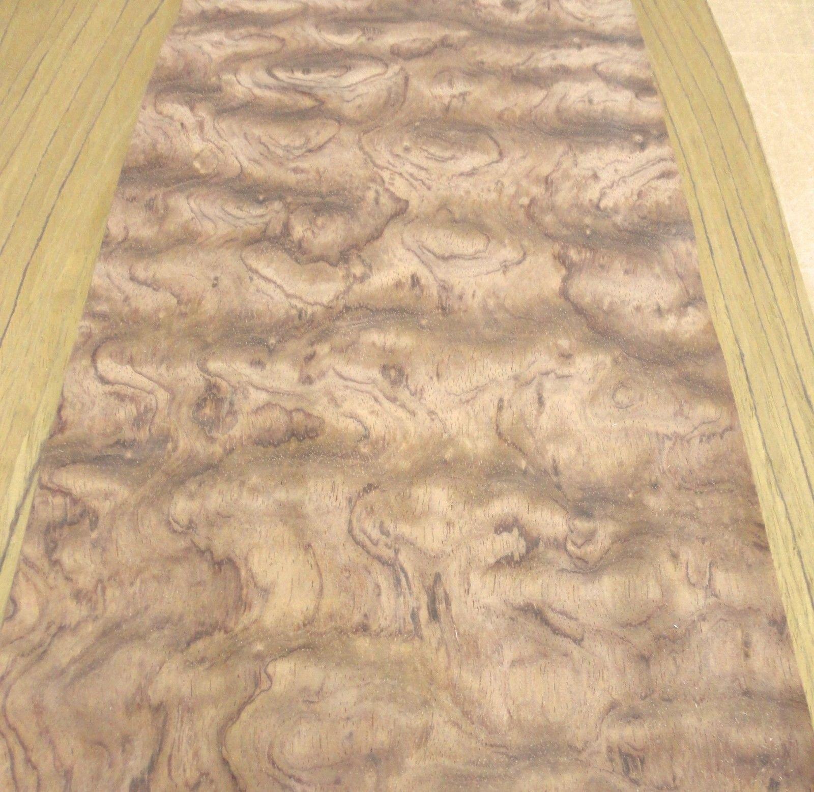 Bubinga Waterfall figured wood veneer 10'' x 122'' raw no backing 1/32'' thick