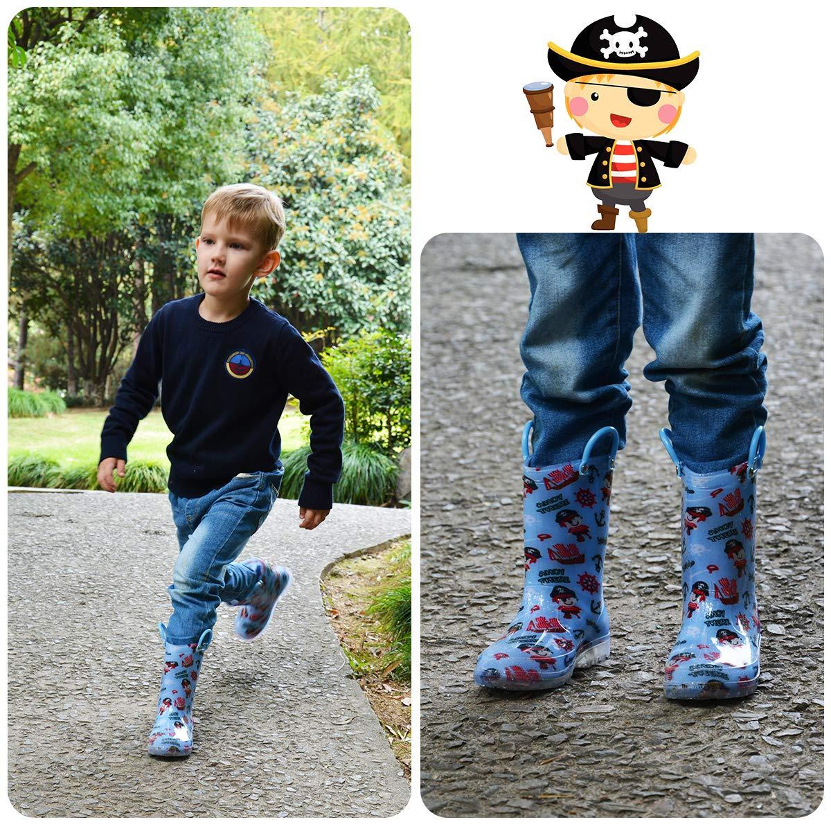 K KomForme Toddler Boy Girl Rain Boots with Light,Kids Shining Shoes with Mem.