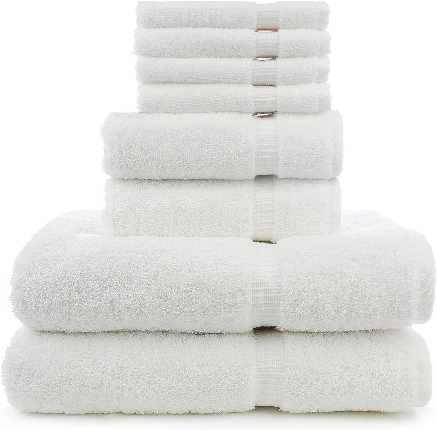 8 Piece Turkish Luxury Turkish Cotton Towel Set - Eco Friendly, 2 Bath Towels, 2 Hand Towels, 4 Wash Clothes by Turkuoise Turkish Towel (White) 81ZCZQzHkrL