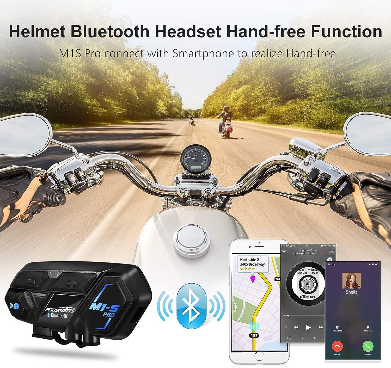 FM FODSPORTS M1S PRO Interfono Moto Bluetooth Coppia Casco Con Audio Stereo Hi-Fi,CVC Riduzione Rumore,Auricolare Casco Moto Supporta Interfono Per 8 Motociclisti Simultaneo Entro 2000m,Mani liber