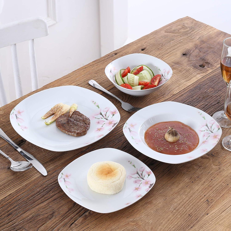 Piattini Piatti da Dessert VEWEET Annie Servizio da Tavola in Porcellana Set 100 Pezzi con Piatti Piani Tazze Ciotole Mugs Piatti Fondi Zuccheriere e Lattiere per 12 Persone Portauova