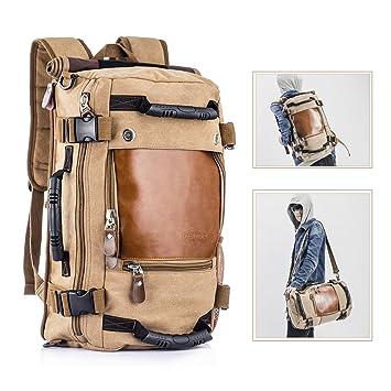 5fe54a40aea4f Overmont Vintage Herren Rucksack Multifunktionale Tasche für Reise Camping  Wandern Ausflug Outdoor Khaki Schwarz