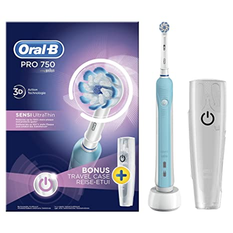 Oral-B Pro 750 Sensi Ultrathin Adulto Azul - Cepillo de dientes eléctrico (Batería