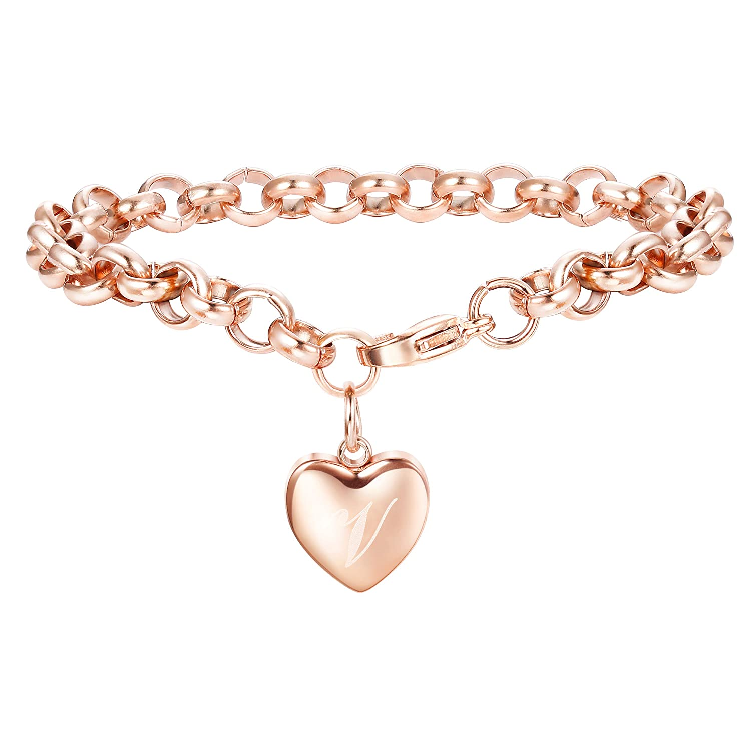 Adramata Rose Gold Personalized Initial Bracelets for Women Girls Customized Heart Cute Ankle Bracelets Adjustable A-Z B07FSDKYMK_US