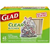 Glad Tall Kitchen Drawstring Clear Recycling Trash Bags, 13 Gallon, 45 Count