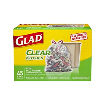 glad tall kitchen drawstring clear recycling trash bags 13 gallon 45 count - Tall Kitchen Trash Bags