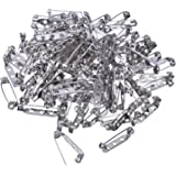 Mudder 100 Pieces Silver Tone Pin Back Clasp Brooch Name Badge Craft (1 Inch)