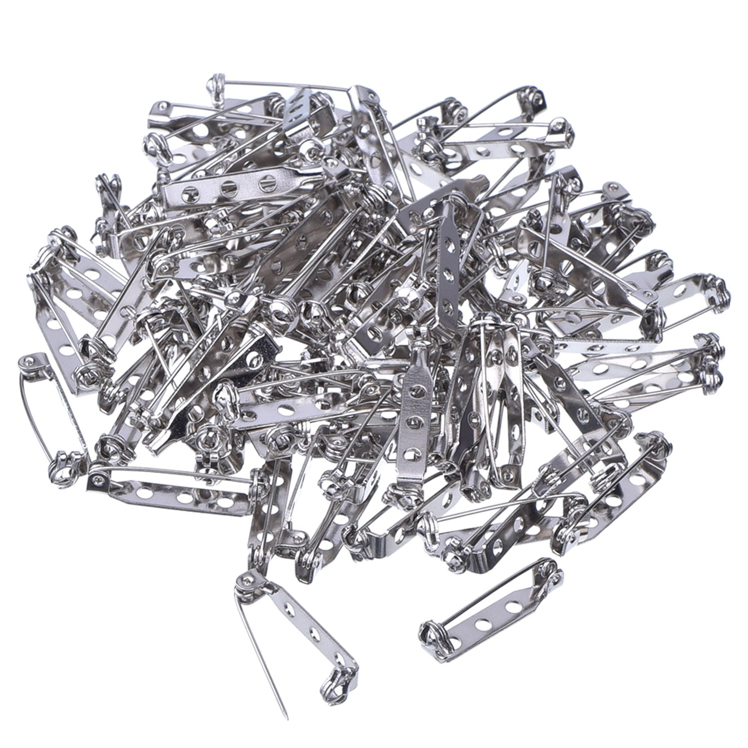 Mudder 100 Pieces Silver Tone Pin Back Clasp Brooch Name Badge Craft (1 Inch) by Mudder