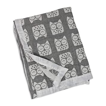7a4146f6163 Amazon.com: Living Textiles Muslin Textured Grey Owl Baby Blanket,: Baby