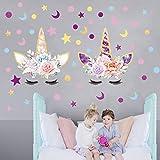 Sayala 2 pezzi Adesivo da parete in materiale vinilico, Adesivi murali bambini Kit,fairytale adesivi murali unicorno ragazze camera da letto home decor (Stelle e Luna & Dot)