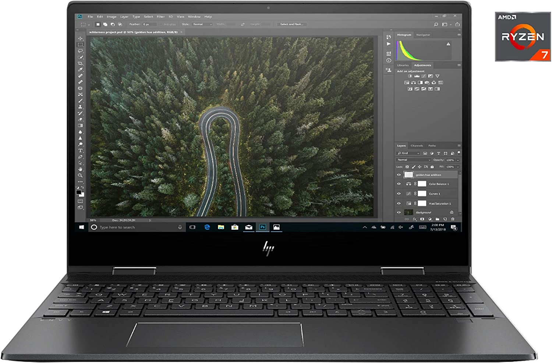 "HP - 2-in-1-15.6"" Touch - AMD Ryzen 7-8GB - Radeon RX Vega 10-512GB SSD - Black"